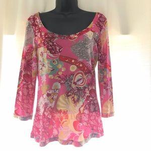 Christian Lacroix Bazar Paris Womens Pink Blouse